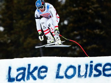 LAKE LOUISE, AB - NOVEMBER 25: Matthias Mayer of Austria takes 2nd place during the Audi FIS Alpine Ski World Cup Men's Downhill on November 25, 2017 in Lake Louise, Canada. (Photo by Christophe Pallot/Agence Zoom/Getty Images)