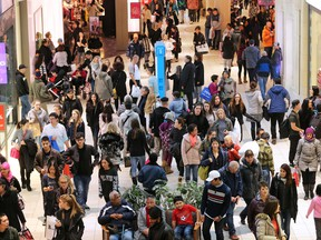 Shoppers at Chinook Centre in Calgary on December 26, 2016.