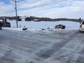 The scene of a collision between a truck and SUV just northwest of Calgary. via Cochrane RCMP
