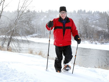 Brian Lewis takes advantage of his new snowshoes at Edworthy Park after the first big snowfall of the season. Wednesday, December 20, 2017.
