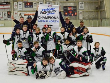 Springbank 6 Blue won the Atom 6 North division of the Esso Minor Hockey Week tournament that wrapped up Saturday.