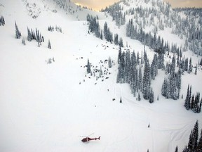 REVELSTOKE, B.C.: MARCH 13, 2010 -- Boulder Mountain's Turbo Bowl in Revelstoke, B.C. is shown in this RCMP handout photo, which was taken hours after an avalanche struck on Saturday, March 13, 2010. HANDOUT PHOTO: RCMP  CNS-AVALANCHE