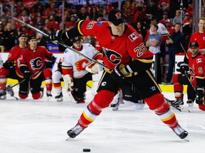 Calgary Flames defenceman Michael Stone had the hardest shot during the annual Calgary Flames Superskills event at Scotiabank Saddledome with a shot of 105.1 mph in Calgary on Sunday, January 7, 2018.