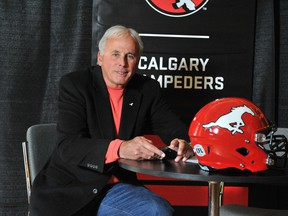 John Hufnagel of the Calgary Stampeders at the Canadian Football League annual winter meetings at Banff, Alta., on Jan. 10, 2018