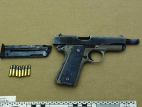 A .22-calibre handgun seized in Sunday's arrest of 28-year-old Tommy Tran Nguyen of Chestermere.