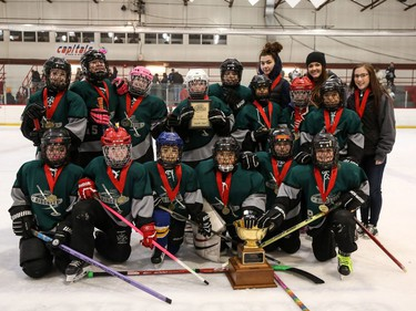 The Calgary East Sharp Shooters win gold in the U12C division of the Esso Golden Ring tournament. Shannon Hutchison photo