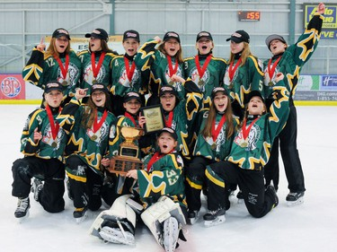 The U14A Medicine Hat Tropics win gold in the Esso Golden Ring tournament at Don Hartman North East Sportsplex in Calgary on Sunday, Jan. 21, 2018. Photo by Maxwell Mawji.