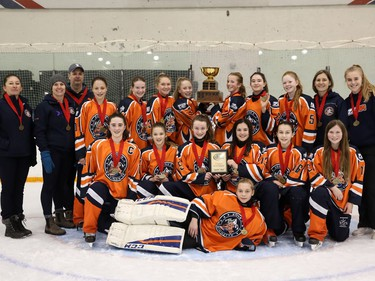 The Zone 2 Blaze win gold in the U14AA division of the Esso Golden Ring tournament. Shannon Hutchison photo.