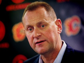 Calgary Flames GM Brad Treliving speaks about his team's moves after the NHL trade deadline at the Scotiabank Saddledome in Calgary on Monday, February 26, 2018. Al Charest/Postmedia