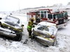 Calgary Police, Fire and EMS were kept busy as multipky accidents along Deerfoot Trail from heavy snow resulted closures in Calgary on Saturday February 3, 2018. Darren Makowichuk/Postmedia