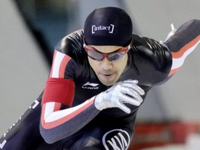 CALGARY.; JANUARY 05, 2015 -- Canadian speed skater Junio Gilmore races to second place at the men's 500m start during the Canadian Championships at the Olympic Oval in Calgary o January 5, 2016. Photo by Leah Hennel,