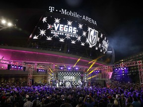 The Golden Knights team name is unveiled in Las Vegas on Nov. 22, 2016.
