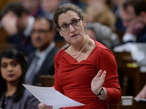 Minister of Foreign Affairs Chrystia Freeland rises during Question Period in the House of Commons on Parliament Hill in Ottawa on Wednesday, Feb. 7, 2018.