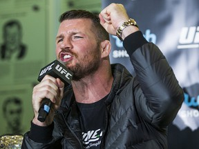 UFC fighter Michael Bisping gestures during a promotional press conference held at the Hockey Hall of Fame in Toronto on Friday October 13, 2017. (Ernest Doroszuk/Toronto Sun)