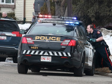 Calgary police respond to a shooting in the northeast community of Abbeydale which injured an officer on Tuesday, March 27, 2018.