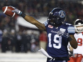 The Toronto Argonauts took on the Calgary Stampeders during the 105th Grey Cup at Lansdowne Park in Ottawa Sunday Nov 26, 2017. Argos S.J. Green gets a first down Sunday.