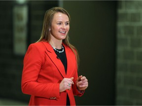 Erica Wiebe, 2016 Olympic Gold Medalist, talks with media before a panel on reimagining Winter Olympic and Paralympic bids at the University of Calgary on Tuesday, March 6, 2018.  Gavin Young/Postmedia