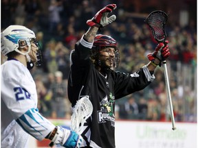 The Calgary Roughnecks' Tyson Bell celebrates his team's goal on the Rochester Knighthawks during NLL action at the Scotiabank Saddledome in Calgary on Saturday March 17, 2018.  Gavin Young/Postmedia