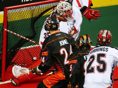 This Buffalo Bandits shot gets past Calgary Roughnecks goaltender Christian Del Bianco during a National Lacrosse League game in Calgary on Saturday April 14, 2018.