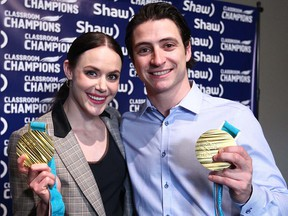 Olympic champions Tessa Virtue and Scott Moir pose after speaking to media in Calgary on Friday, April 20, 2018.