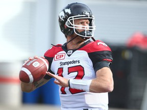 Ricky Stanzi warms up during preseason CFL action between the BC Lions and the Calgary Stampeders in Calgary, on Tuesday June 6, 2017. Jim Wells/Postmedia