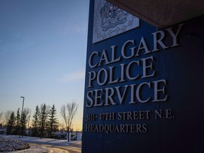 The Calgary Police Service headquarters signage is seen in Calgary on Wednesday, Dec. 7, 2016.