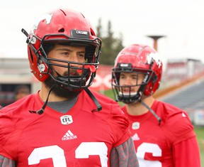 Calgary Stampeders Canadian running backs William Langlais (L) and Charlie Power are shown during practice at McMahon Stadium in Calgary on Wednesday 30, 2018.  Jim Wells/Postmedia