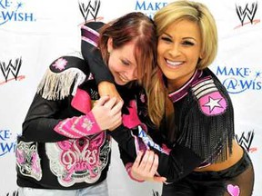 """Nattie (above and below with her first """"make a wish"""" Alexis. I gave her a jacket I wore at WrestleMania so she would never forget the time we had together."""