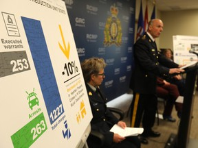 Deputy Commissioner Todd Shean, Commanding Officer of the Alberta RCMP speaks to media on the Southern Alberta District Crime Reduction Unit at the Southern Alberta District Office in Airdrie on Thursday May 24, 2018. Darren Makowichuk/Postmedia