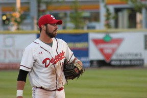 Nate DeChaine has helped pace the Okotoks Dawgs offence by leading the team in hits (10), doubles (3) and RBIs (9). (Ian Wilson/Photo)