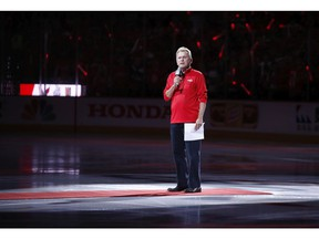 Entertainer Pat Sajak, a Washington Capitals season ticket holder, introduces the players for the Capitals and the Vegas Golden Knights before Game 3 of the NHL hockey Stanley Cup Final, Saturday, June 2, 2018, in Washington.