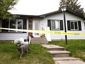 Calgary police investigate a suspicious death at Margate Place N.E. in Calgary on Saturday June 9, 2018. Darren Makowichuk/Postmedia