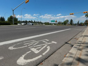 A 75 year old man was killed, Monday July 16, 2018 when hit by a cyclist at the intersection of Richmond Rd and Crowchild Tr SW in Calgary. According to police, the man was crossing the street in a marked intersection and was hit by a a cyclist on northbound Richmond Rd. Police say the cyclist failed to stop for a red light. Jim Wells/Postmedia