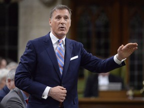 Quebec member of Parliament Maxime Bernier rises during question period in the House of Commons on Parliament Hill in Ottawa on Thursday, Sept.28, 2017.