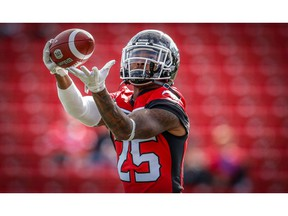 Calgary Stampeders Don Jackson during warm-up before facing the Ottawa Redblacks in CFL football in Calgary on Thursday, June 28, 2018. Al Charest/Postmedia