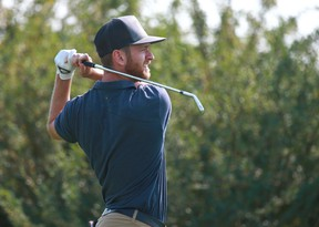 American golfer Tyler McCumber hits a tee shot at the ATB Financial Classic at the Talons course at Country Hills Golf Club in northeast Calgary on Thursday, August 9, 2018. Jim Wells/Postmedia
