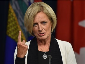 Alberta Premier Rachel Notley speaks after the Federal Court of Appeal quashed construction approvals to build the Trans Mountain pipeline expansion project during a news conference at the Alberta legislature in Edmonton on Thursday, Aug. 30, 2018.