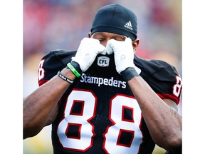 Calgary Stampeders Kamar Jorden is helped off the field after suffering leg injury against the Edmonton Eskimos during the Labour Day Classic in Calgary on Monday, September 3, 2018. Al Charest/Postmedia