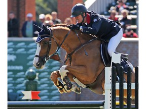 French rider Cedric Angot riding Talent Des Moitiers won the Telus Cup at the Spruce Meadows Masters on Wednesday September 5, 2018.  Gavin Young/Postmedia