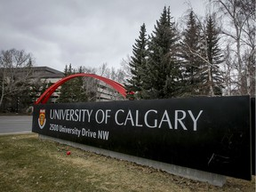 A sign marked the University of Calgary in Calgary, Alta., on Tuesday, April 15, 2014.