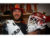 Calgary Flames Mike Smith shows off his new goalie mask for the home opener this Saturday, honouring Flames legend Mike Vernon at the Scotiabank Saddledome in Calgary on Thursday, October 4, 2018. Al Charest/Postmedia