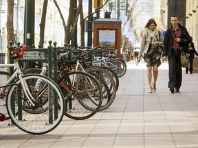 Bicycles parked on Stephen Avenue Walk in downtown Calgary.