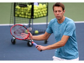 Canadian tennis player Daniel Nestor teaches during a doubles clinic during the National Bank Challenger Tournament in Calgary on Wednesday October 17, 2018. The event takes place at the Osten & Victor Alberta Tennis Centre through the weekend.   Photo by Gavin Young/Postmedia.