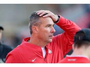 COLLEGE PARK, MD - NOVEMBER 17: Head coach Urban Meyer of the Ohio State Buckeyes reacts after a play against the Maryland Terrapins during the second half at Capital One Field on November 17, 2018 in College Park, Maryland.