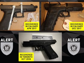 ALERT alleges that Philip Edward Sarrasin, 26,  purchased seven handguns during a nine-month window, beginning in February 2016. Three of the handguns purchased by the accused (pictured) later surfaced during police investigations. (Handout)
