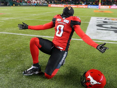 The Calgary Stampeders' Ciante Evans celebrates after the team  defeated the Ottawa Redblacks at Commonwealth Stadium in Edmonton on Sunday November 25, 2018.