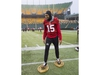 Calgary Stampeders wide receiver Eric Rogers (15) jokes around on a pair of snowshoes in Edmonton, Friday, November 23, 2018. The Ottawa Redblacks will play the Calgary Stampeders in the 106th Grey Cup on Sunday. THE CANADIAN PRESS/Nathan Denette ORG XMIT: JOHV107