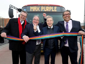 Left to right: Director of Calgary Transit, Doug Morgan, Transportation Minister Brian Mason, federal Minister of Infrastructure Francois-Philippe Champagne and Calgary Mayor Naheed Nenshi.