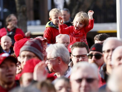 Thousands of fans turned out for a rally celebrating the Calgary Stampeders victory in the 106th Grey Cup outside city hall in Calgary on Tuesday, Nov. 27, 2018.