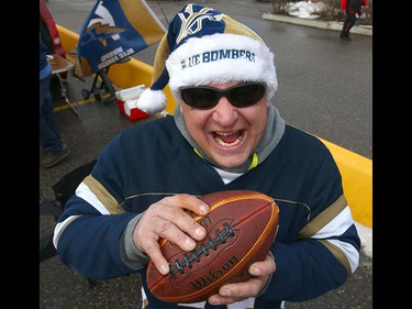 Winnipeg Blue Bomber fan Todd Fisette is ready for the game during the CFL Western Final in Calgary at McMahon Stadium on Sunday, November 18, 2018. Jim Wells/Postmedia